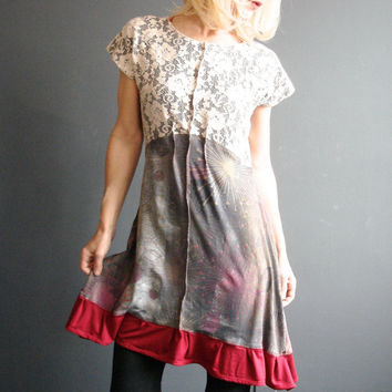 Womens Handmade Dress, Ivory Lace Insert Mini Dress, Hand Printed Starburst Dress, Bohemian Empire Waist Tunic, Boho Chic, Wearable Art
