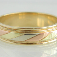 Wonderful Vintage 14K Gold ArtCarved Multi Color Gold Wedding Band size 10