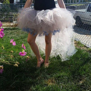 Silver fairy tutu, Adult fairy costume, fairy tutu, blue bows, stretchy tutu