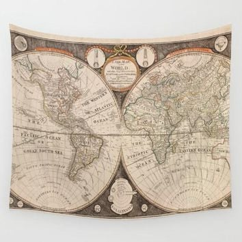 World Map Polyester Tapestry Map Of Usa Colorful Wall Decoration