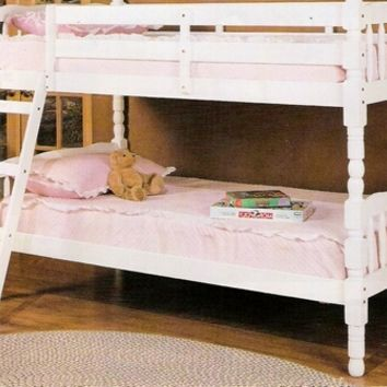 A.M.B. Furniture & Design :: Bedroom furniture :: Bedroom Sets :: Bunk Bed Sets :: Homestead white finish wood Twin / Twin convertible bunk bed set