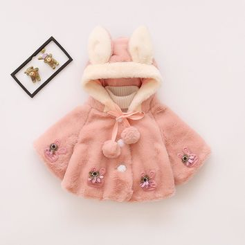 Baby Girl Jacket Baby Coat Velour Fabric Infant Garment Lovely Bow Coat Baby Girl Infant Winter Coat Newborn Baby Girls Clothes