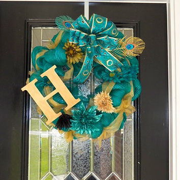 Elegant Peacock Monogram Everyday Wreath, Decoration, Door Hanger Ready to Ship