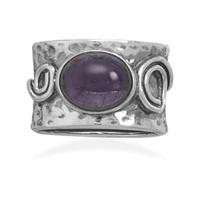 Amethyst Ring with Coil Design
