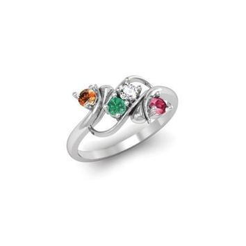 Sterling Silver Synthetic 4 Stone Mother's Ring
