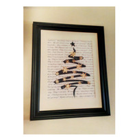 Gold Christmas Baby its cold outside Decor Black and gold Modern framed lyric tree art with sparkly snowflakes Framed gift idea