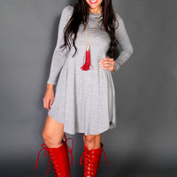 Chic Gray Long Sleeved Casual Junior High Low Dress