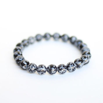 SNOWFLAKE OBSIDIAN Bracelet infused with Reiki Energy, Calming, Soothing, Success Thinking, Balances Mind Body and Spirit