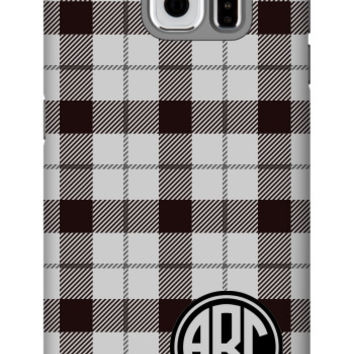 Plaid Monogram Galaxy S6 Extra Protective Bumper Case