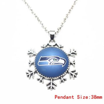Silver Snowflake Dangle Glass Pendant Football Seattle Seahawks Necklace 50cm Chains Fashion Necklace Jewelry For Men Women