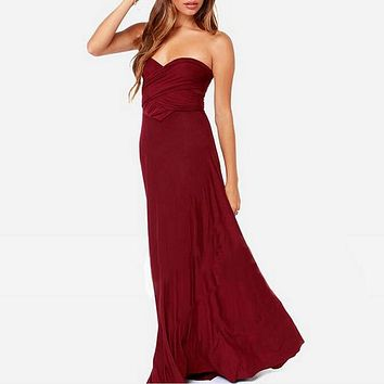 Multiway Wrap Convertible Boho Maxi Club Red Dress color 3