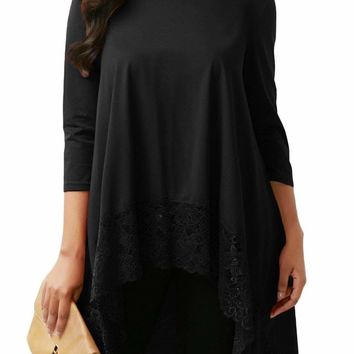 Black Lace Splice High Low Hemline Blouse