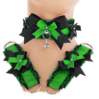 Kitten play collar and cuffs green black, lolita, ddlg, bdsm collar, kittenplay, pastel gothic, goth kawaii, Pet play, puppy Princess S6