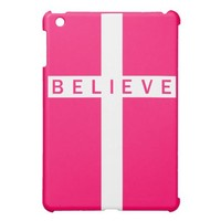 Believe Cross Vertical White Pink iPad Mini Case from Zazzle.com