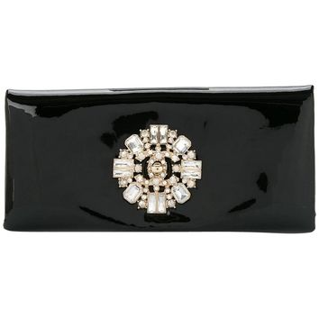 Chanel Black Patent Gold Turn Lock Crystal Stone Evening Flap Clutch Bag in Box