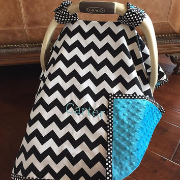 Super Cute Baby Car Seat Covers - CHEVRON in BLACK and Turquoise Minky - With or without Monogram