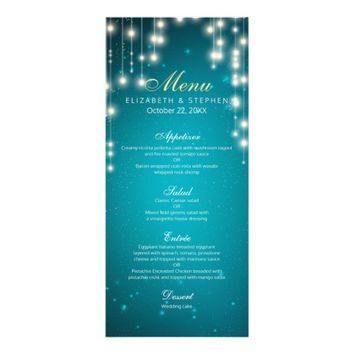 Chic String Lights Turquoise Glitter Wedding Menu