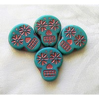Four large turquoise blue & pink Czech glass skull beads, opaque turquoise blue glass with a pink wash, focal beads, 20mm x 17mm C02101