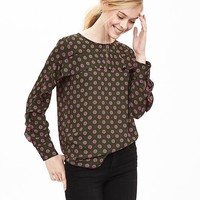 Banana Republic Printed Ruffle Front Blouse