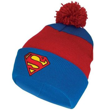 PEAPIX3 Superman - Shield Logo Pom Pom Knit Hat - Red (Color: Red) = 1945926276