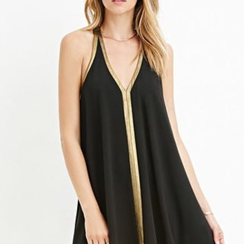 Metallic-Trimmed Trapeze Dress