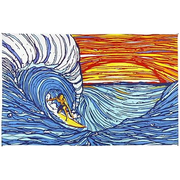 Handmade Cotton Sunset Surfer Ocean Wave Tapestry Tablecloth Bedspread Coverlet Beach Sheet Twin 60x90 Dorm Decor