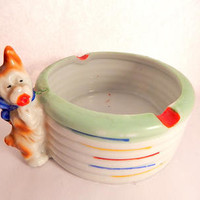 Dog Ashtray Vintage 1930's Porcelain Trinket Dish Made in Japan Art Deco Collectible Tobacciana