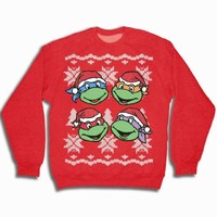 TMNT Teenage Mutant Ninja Turtles Faces Adult Red Ugly Christmas Sweatshirt