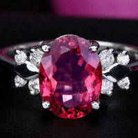 2.17ct Pink Tourmaline VS Diamonds Solid 14k White Gold Engagement Ring
