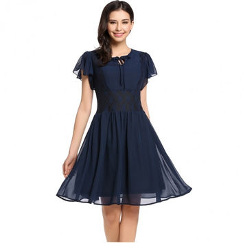 Women Butterfly Sleeve Keyhole Front Lace Chiffon Casual Skater Dress