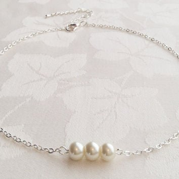Ivory Pearl Necklace Ivory Pearl Jewelry Bridesmaids Wedding Custom Colours