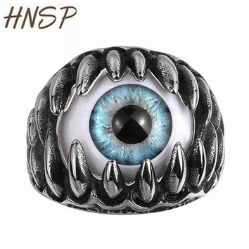 HNSP Punk Dragon Claws Evil Eyes Finger Ring For Mens Male Fashion Jewelry Bague homme Anel masculino Anillos hombre