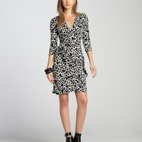 Black And White Three Quarter Sleeve Faux Wrap Dress