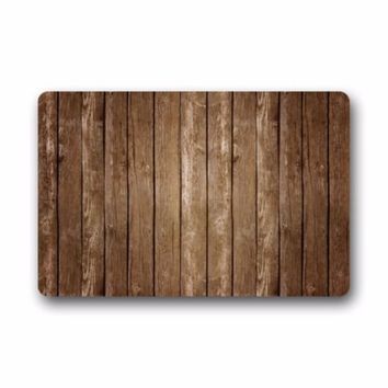 Autumn Fall welcome door mat doormat Vintage Vertical Stripes Wood Pattern Print Stain Resistant Color s Floor Mat  Rug Indoor/Outs Welcome AT_76_7