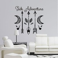 Dream Catcher Decal Feather Sticker Boho Dreamcatcher Wall Decals Quotes for Bedroom Nursery Hippie Decor Bohemian Bedding Art Ah124