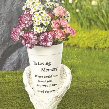Angel Wings Inscribed Memorial Vase For Flowers Statue Ground Grave Marker
