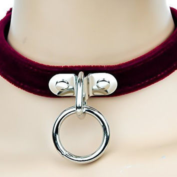 Red Velvet Choker Sexy O Ring Fetish Collar