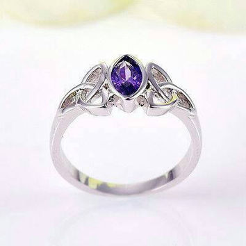 Amethyst celtic gold filled ring