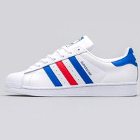 """Adidas"" Fashion Shell-toe Flats Sneakers Sport Shoes White blue red line"