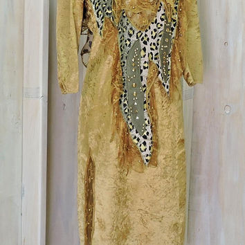 Boho Tribal dress / size M /  crushed velvet / leopard print / 90s gold party dress / festival
