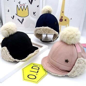 Pompoms Thick Velvet Color Grid Baby Warm Winter Hat For Child Hat Kid Beanies Cap For Boy Girl Hat Bomber Hat for 1-3Yrs