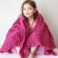 Diamond Lace Crochet Large Toddler Afghan or Lapghan Blanket in Dark Pink, ready to ship.
