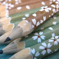 mini pencils made with japanese paper - set of 10 - forest floor