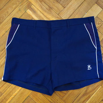 Unisex vintage tennis shorts sports jogging running squash navy pants Soviet era trousers summer slacks bermudas S M 10 38 briefs striped