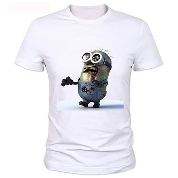 Fashion Solid T Shirt Men Zombie Minions And The walking Dead Funny School Men T Shirts Regular Style Plus Size 3XL