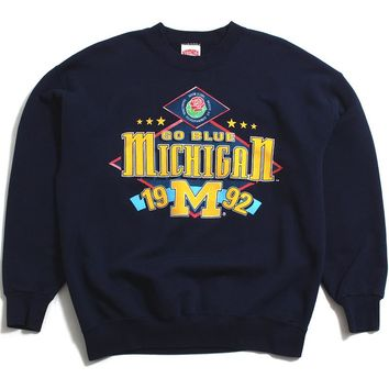 University of Michigan 1992 Rose Bowl Stars Nutmeg Mills Crewneck Sweatshirt Navy (XL)