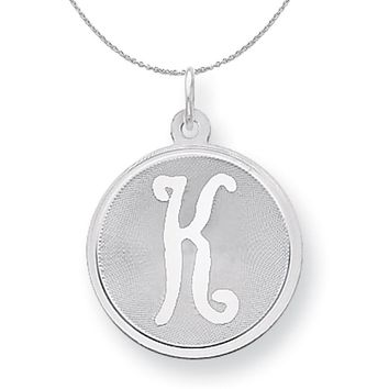 Sterling Silver, Makayla Collection, 20mm Disc Initial K Necklace