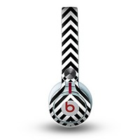 The Black & White Sharp Chevron Pattern Skin for the Beats by Dre Mixr Headphones