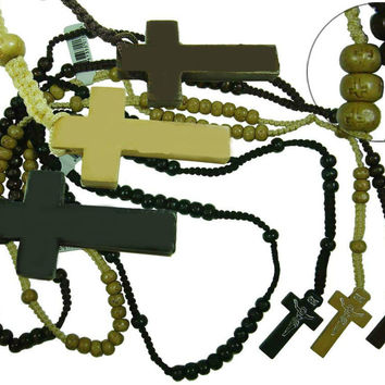 franciscan rosary beads with wooden cross - deluxe Case of 600