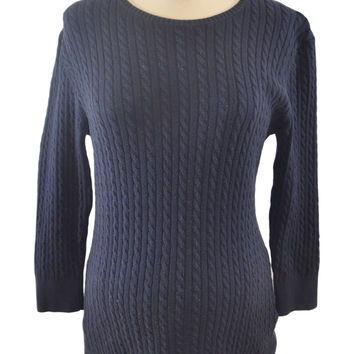 Navy Blue Cable Knit Sweater by GAP